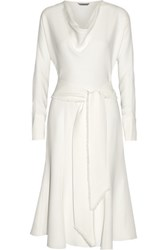 Maiyet Belted Silk Crepe Dress Off White