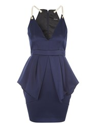 Jane Norman Rope Detail Peplum Dress Navy