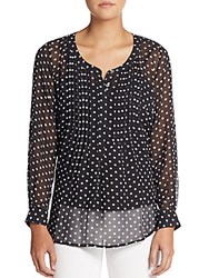 Daniel Rainn Polka Dot Pintuck Pleated Chiffon Blouse Black