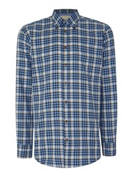 Paul Costelloe Check Classic Fit Classic Collar Shirt Blue