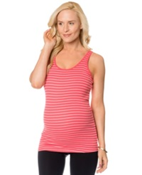 Motherhood Maternity Wide Strap Striped Ruched Tank Coral Stripe