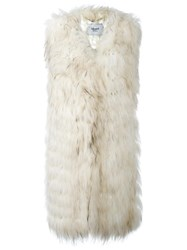 Blugirl Sleeveless Fur Coat White
