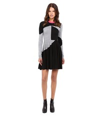 Mcq By Alexander Mcqueen Colour Block Skater Dress Black Grey Melange Women's Dress