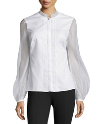 Escada Gauze Contrast Pleated Blouse