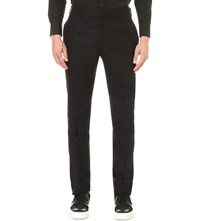 Alexander Mcqueen Regular Fit Mid Rise Wool Trousers Black