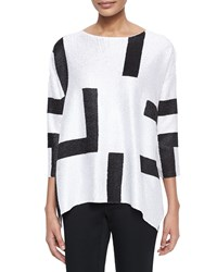 Berek 3 4 Sleeve Abstract Pullover Tunic Petite White
