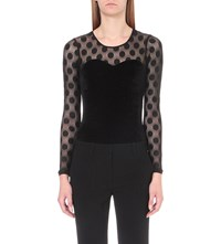 Claudie Pierlot Tavie Tulle And Velvet Top Noir