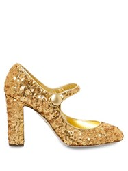 Dolce And Gabbana Block Heel Sequin Pumps Gold