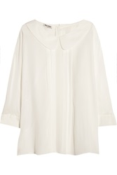 Miu Miu Pleated Silk Crepe De Chine Blouse