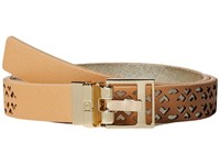 Ivanka Trump 25Mm Reversible Peekaboo Perf Belt Natural Women's Belts Beige