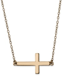Studio Silver 18K Rose Gold Over Sterling Silver Necklace Sideways Cross Pendant