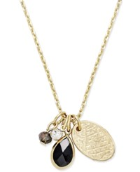 Macy's Inspired Life Gold Tone Multi Charm Stone Pendant Necklace Black
