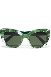 Dolce And Gabbana Cat Eye Printed Acetate Sunglasses Green