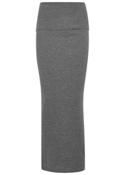 Stella Mccartney Grey Ribbed Wool Maxi Skirt