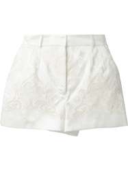 Dolce And Gabbana Cut Out Embroidered Brocade Shorts Nude And Neutrals