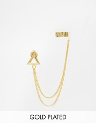 Asos Gold Plated Sterling Silver Open Shape Stud Chain Ear Cuff