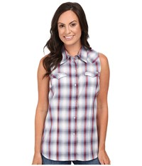 Roper 0436 Sunset Dobby Plaid Blue Women's Sleeveless
