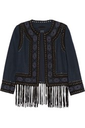 Haute Hippie Fringed Suede Trimmed Beaded Felt Jacket Midnight Blue