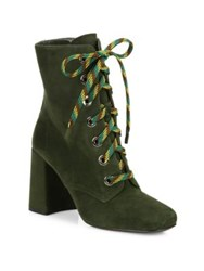 Prada Suede Lace Up Block Heel Booties Military Green