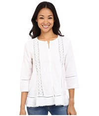 Dylan By True Grit Textured Slub Cotton Crochet And Ruffle Chemise White Women's Long Sleeve Button Up
