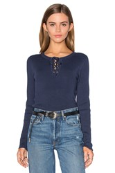 525 America Lace Up Sweater Blue