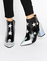 Daisy Street Star Print Heeled Ankle Boots Black Silver Multi