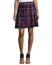 Risto Pleated Plaid Skirt Red Forest Poplin