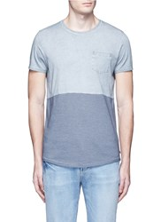 Scotch And Soda Stripe Oil Washed Cotton T Shirt Multi Colour