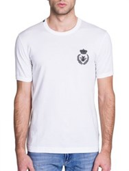 Dolce And Gabbana Bee Crown Embroidered Solid Tee White