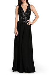Women's Dress The Population 'Caroline' Sequin And Chiffon Gown Black