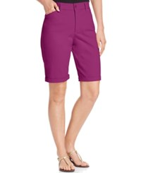 Nydj Briella Cuffed Colored Bermuda Shorts Vivid Raspberry