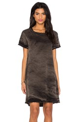 Stateside Vintage Wash Tencel Woven Short Sleeve Shift Dress Charcoal