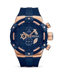 Brera Orologi Supersportivo 14K Rose Gold And Navy Blue Ionic Plated Stainless Steel Watch With Navy Blue Rubber Band 48Mm