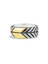 David Yurman Modern Chevron Gold Band Ring Silver