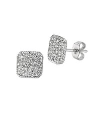 Morris And David 0.50 Ct Tw Diamond Square Stud Earrings In 14 Kt White Gold Silver