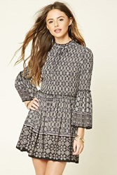 Forever 21 Ornate Print Smock Dress Black Purple