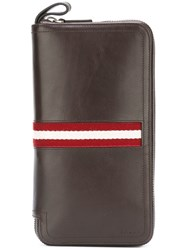 Bally Striped Zipped Wallet Brown