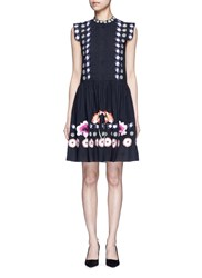 Temperley London 'Sylvie' Floral Embroidery Cotton Silk Dress Multi Colour