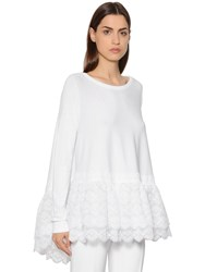 Antonio Berardi Ruffled Eyelet Lace Knit Top