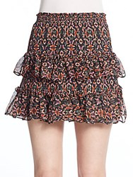 Rebecca Minkoff Blonde Butterfly Print Silk Blend Tiered Skirt Multicolor