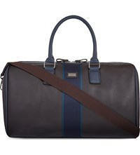 Ted Baker Striped Webbing Leather Holdall Chocolate