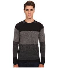 French Connection Garage Stripe Pocket Knit Charcoal Melange Men's Sweater Gray