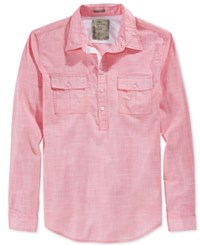 Guess Men's Sunset Heathered Popover Shirt Sunkist Coral Multi
