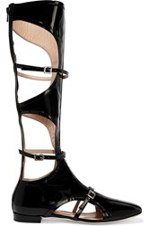 Carven Buckled Cutout Patent Leather Boots Black