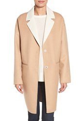 Kate Spade Women's New York Double Face Wool Blend Coat Camel Cream
