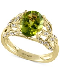 Effy Olivia By Peridot 2 9 10 Ct. T.W. And Diamond 1 4 Ct. T.W. Ring In 14K Gold Green
