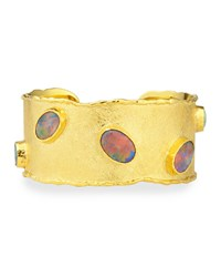 Gold Cuff With Australian Black Opals Victor Velyan White