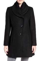Cece Women's Josie Shawl Collar Asymmetrical Boucle Coat