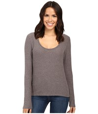 Project Social T Fuzzy Rib Deep Scoop Charcoal Women's Clothing Gray