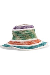 Missoni Cotton And Silk Blend Crochet Knit Sunhat Green